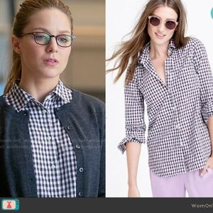 J Crew button up The Perfect Shirt purple/ white